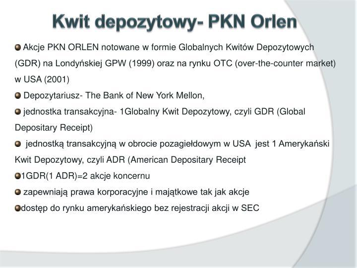 Kwit depozytowy- PKN Orlen