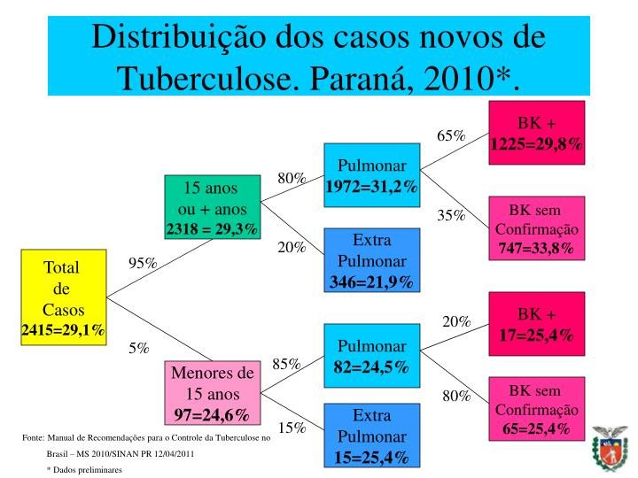 Distribuição dos casos novos de Tuberculose. Paraná, 2010*.