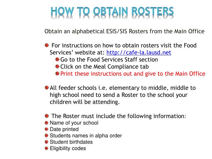 HOW TO OBTAIN Rosters
