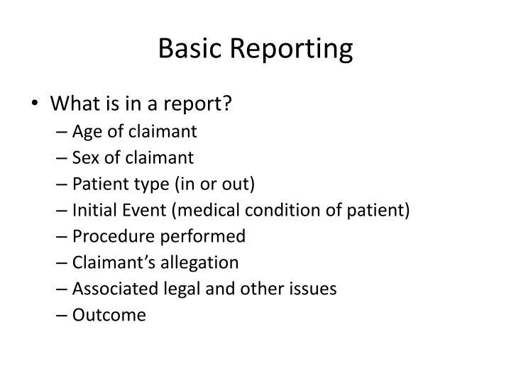 Basic Reporting