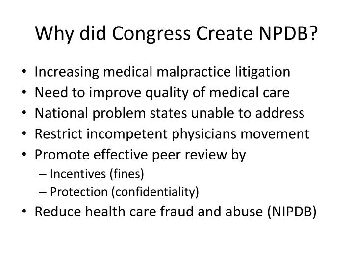 Why did congress create npdb