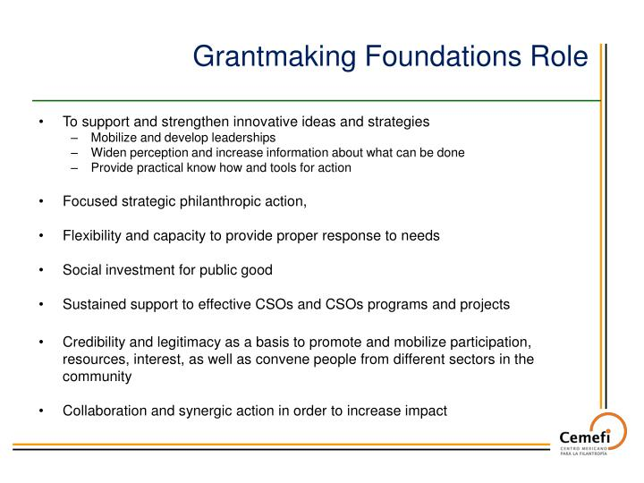 Grantmaking Foundations Role