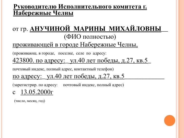 Руководителю Исполнительного комитета г. Набережные Челны
