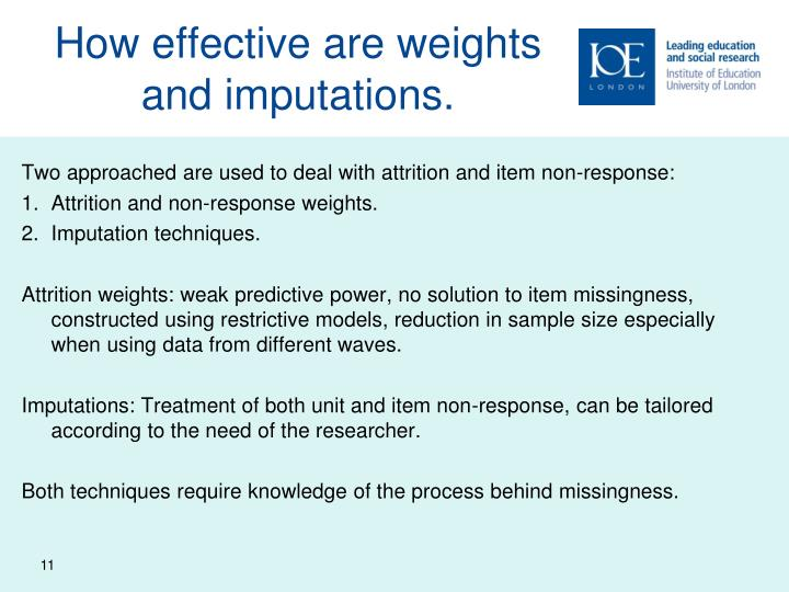 How effective are weights and imputations.