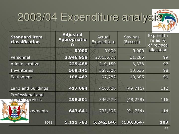 2003/04 Expenditure analysis