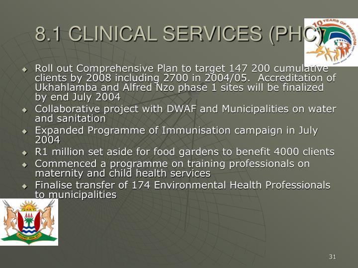 8.1 CLINICAL SERVICES (PHC)