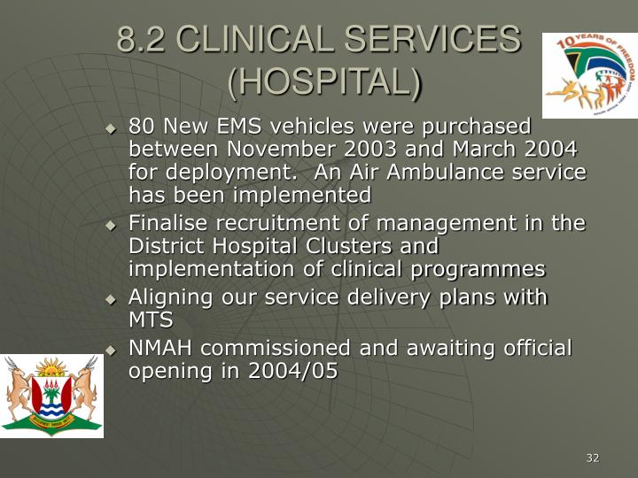 8.2 CLINICAL SERVICES