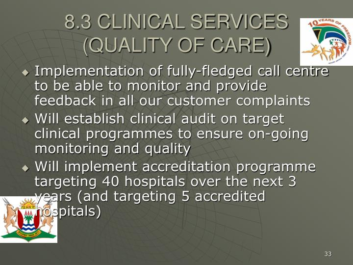 8.3 CLINICAL SERVICES