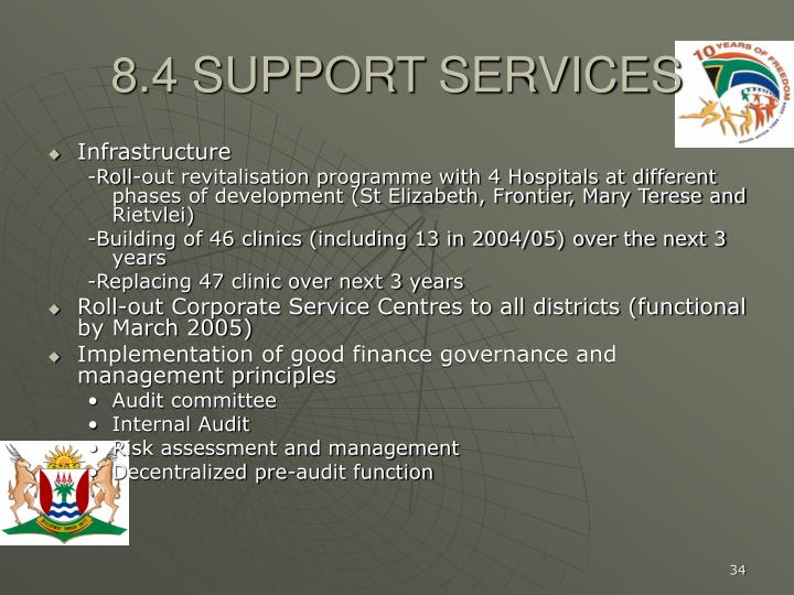 8.4 SUPPORT SERVICES