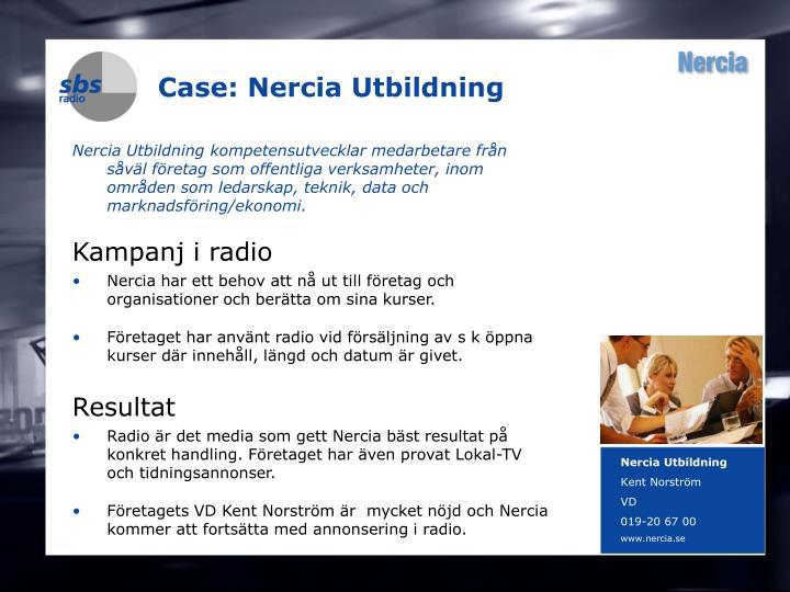 Case: Nercia Utbildning
