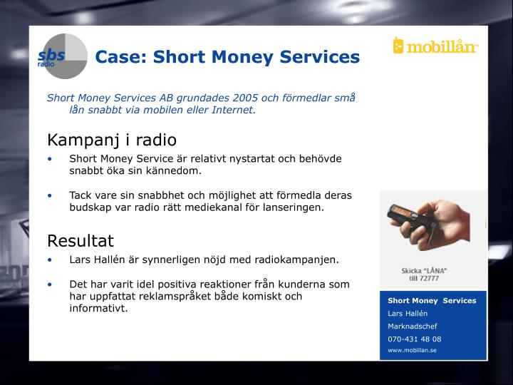 Case: Short Money Services