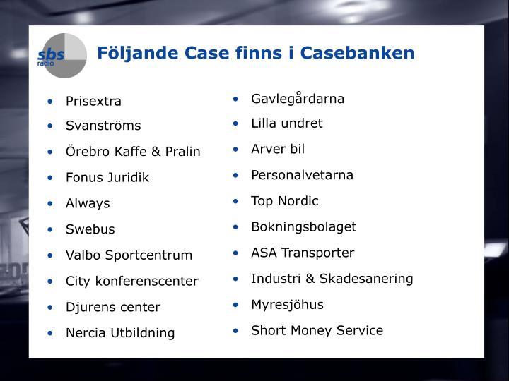 Följande Case finns i Casebanken