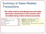 summary of sales related transactions