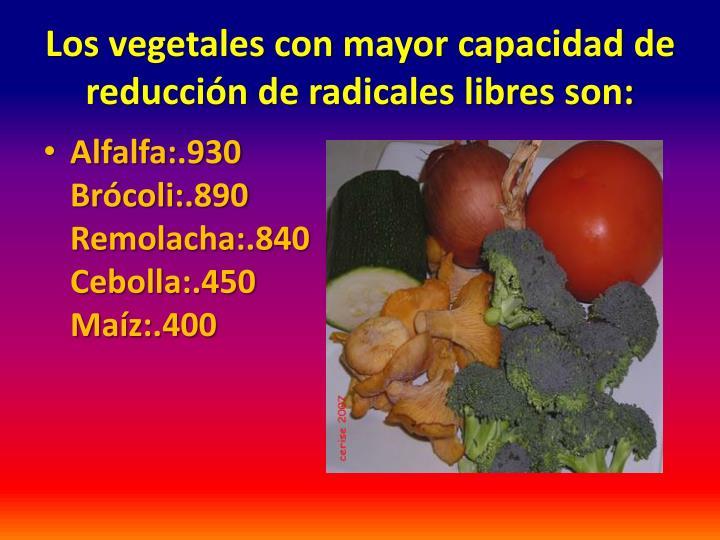 Los vegetales con mayor capacidad de reducción de radicales libres son: