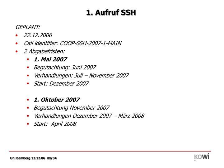 1. Aufruf SSH