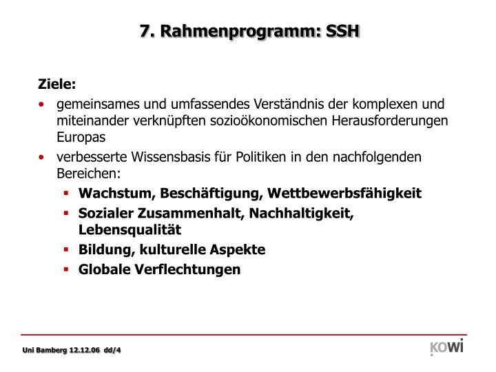 7. Rahmenprogramm: SSH