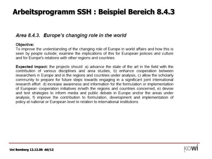 Arbeitsprogramm SSH : Beispiel Bereich 8.4.3