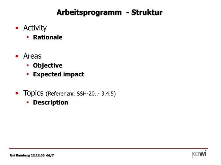 Arbeitsprogramm  - Struktur