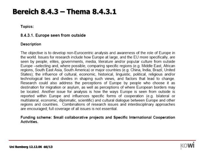 Bereich 8.4.3 – Thema 8.4.3.1