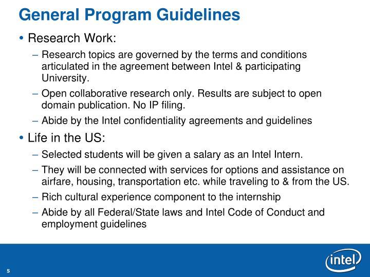General Program Guidelines