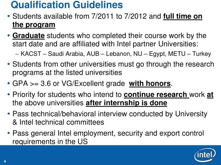 Qualification Guidelines
