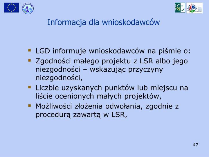 Informacja dla wnioskodawców