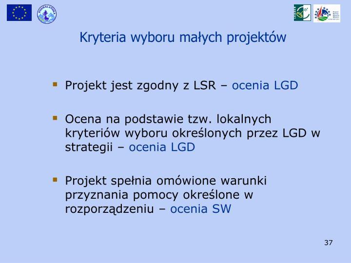 Kryteria wyboru małych projektów