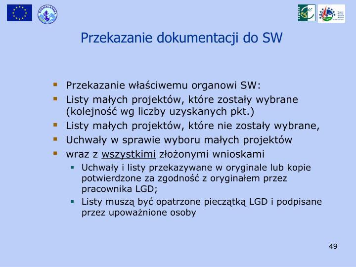 Przekazanie dokumentacji do SW