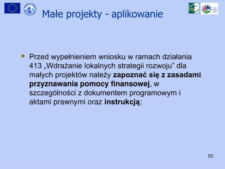 """Przed wypełnieniem wniosku w ramach działania 413 """"Wdrażanie lokalnych strategii rozwoju"""" dla małych projektów należy"""