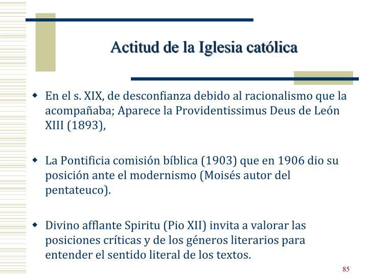 Actitud de la Iglesia católica