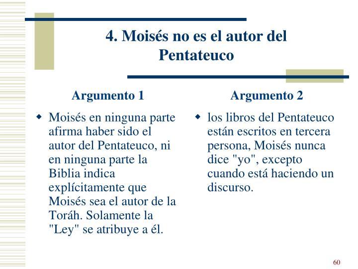 4. Moisés no es el autor del Pentateuco
