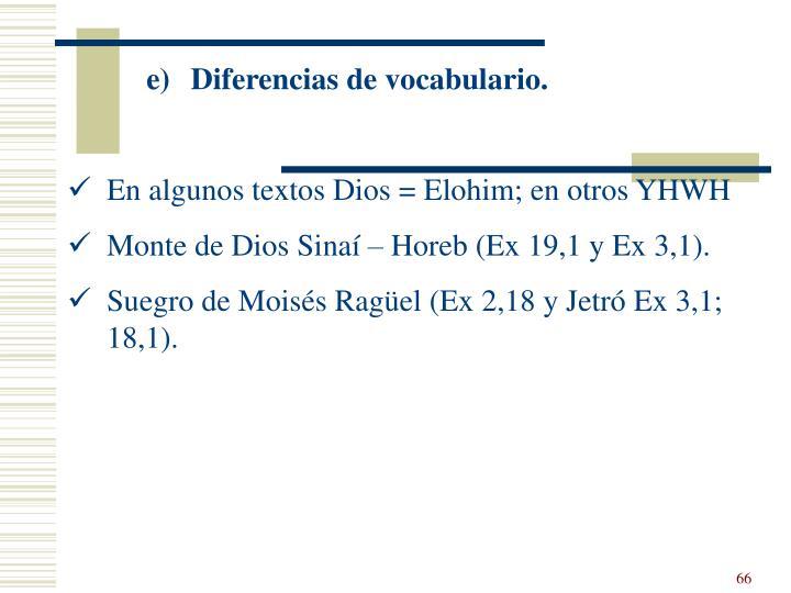 Diferencias de vocabulario.