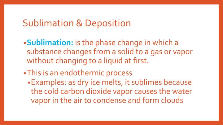 Sublimation & Deposition