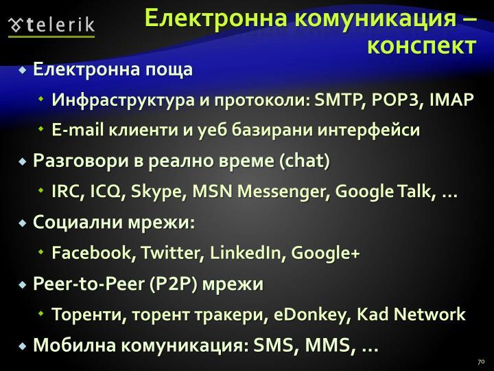 Електронна комуникация – конспект