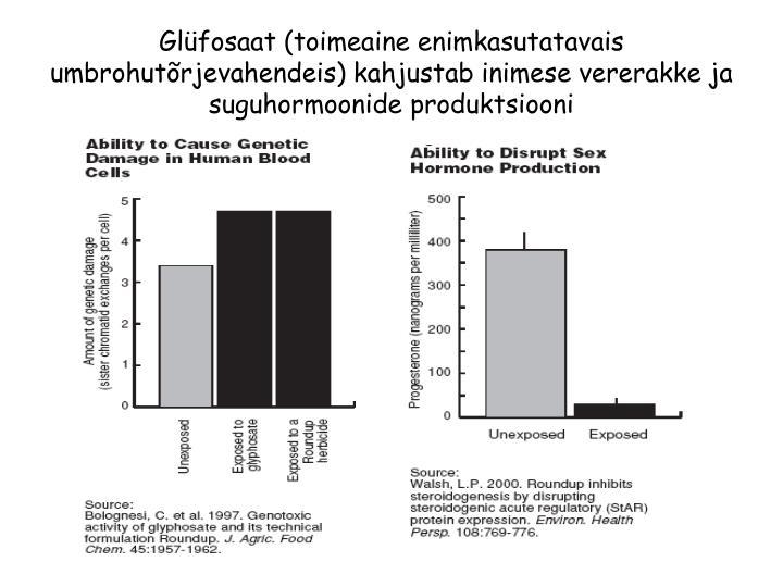 Glüfosaat (toimeaine enimkasutatavais umbrohutõrjevahendeis) kahjustab inimese vererakke ja suguhormoonide produktsiooni