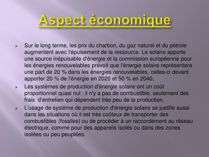 Aspect économique