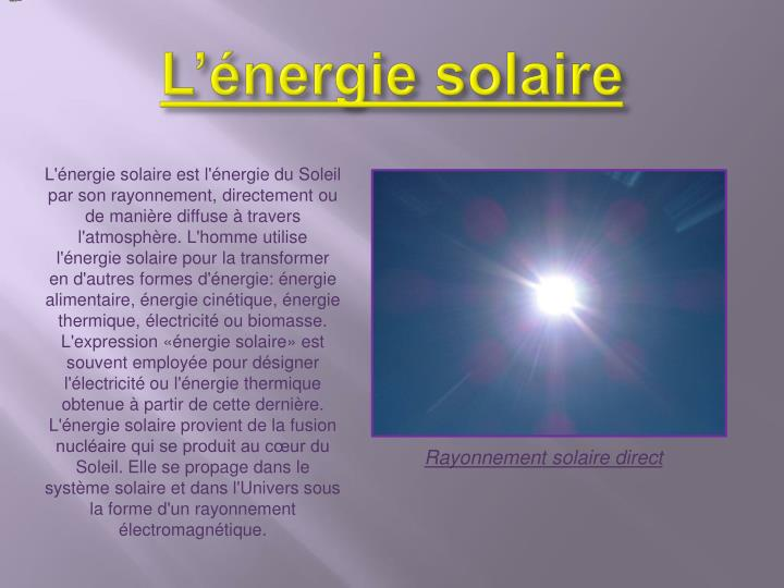 L nergie solaire