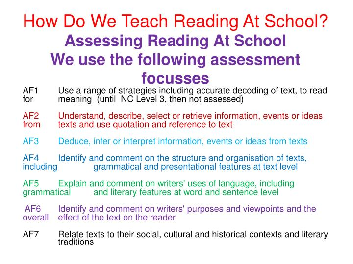 Assessing Reading At School