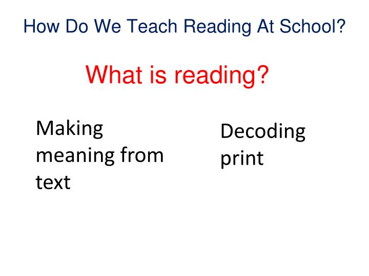 How Do We Teach Reading At School?