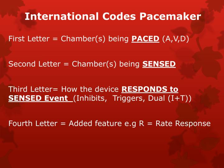 International Codes Pacemaker