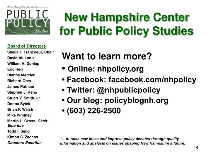 New Hampshire Center for Public Policy Studies