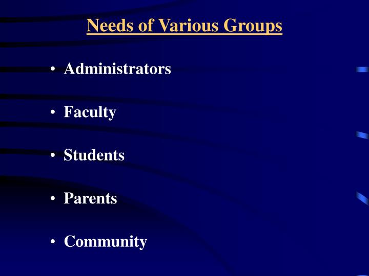 Needs of Various Groups