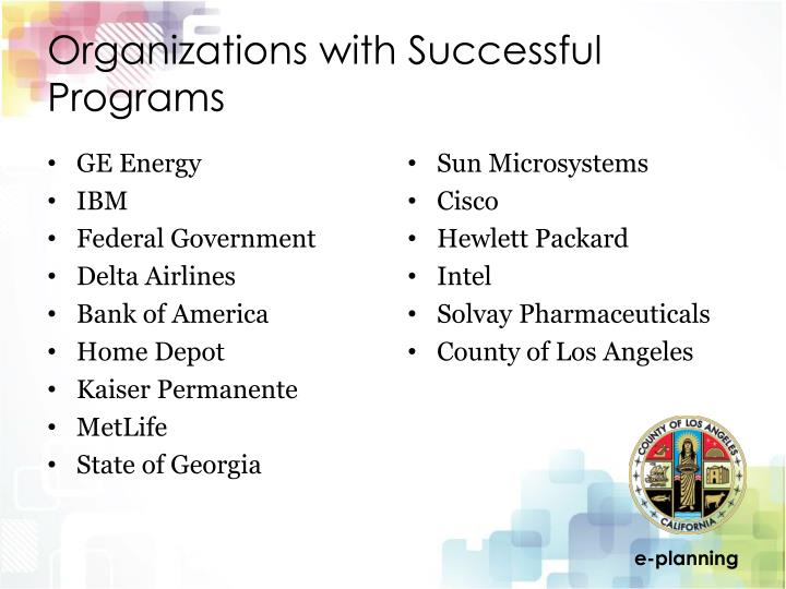 Organizations with Successful Programs