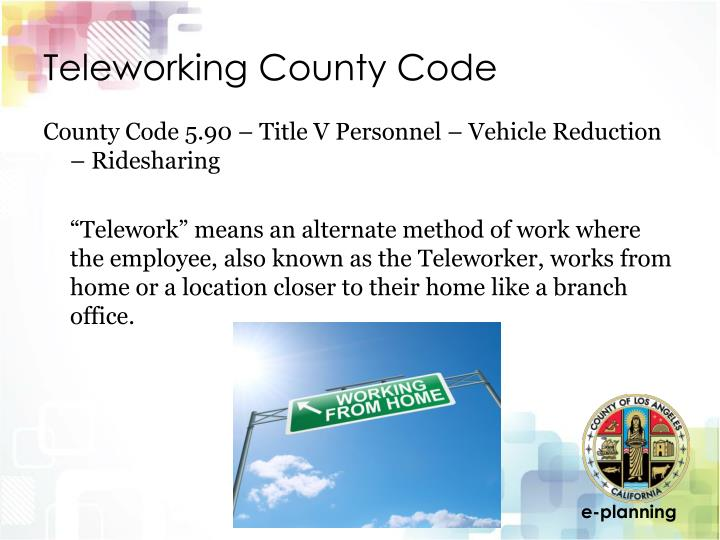 Teleworking county code