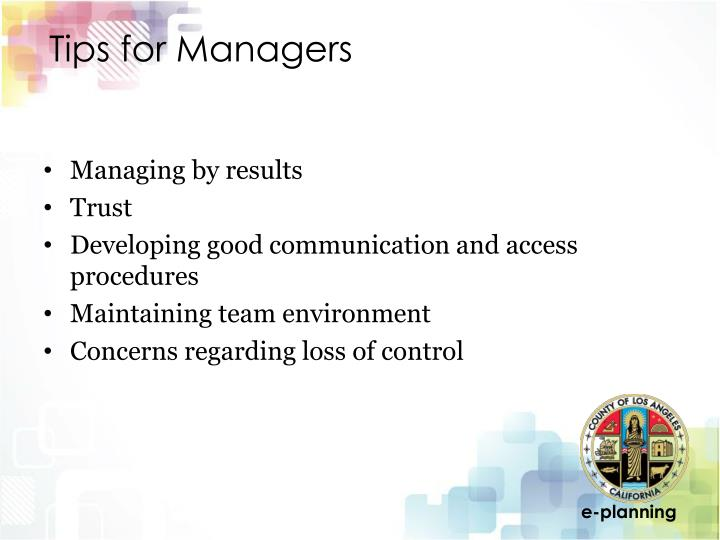 Tips for Managers