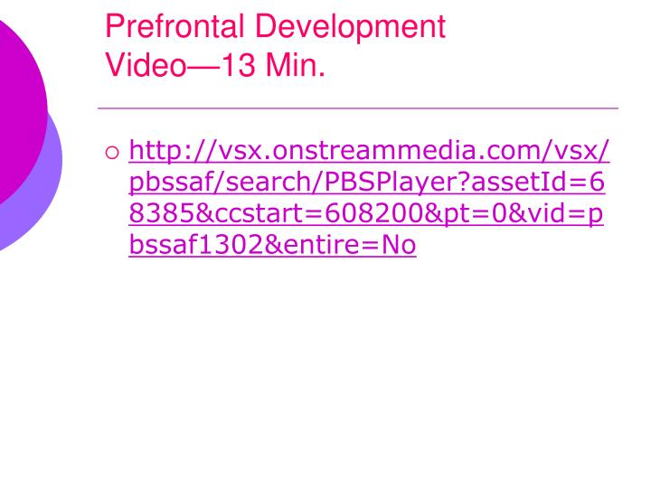 Prefrontal Development
