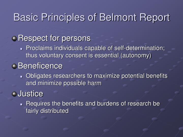 Basic Principles of Belmont Report