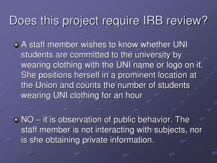 Does this project require IRB review?
