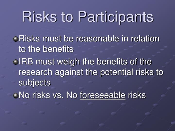 Risks to Participants