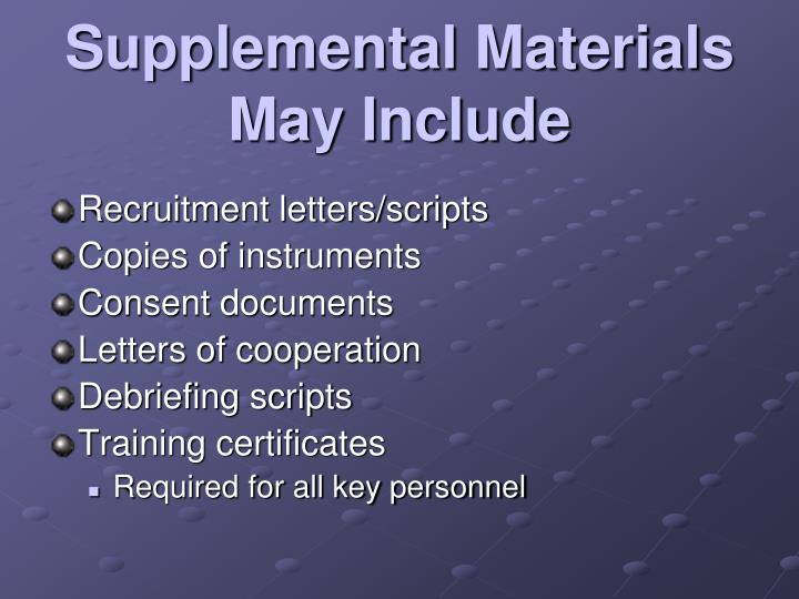 Supplemental Materials May Include